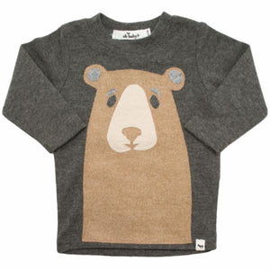 oh baby! Long Sleeve Tee - Boo Boo Bear Tan - Charcoal