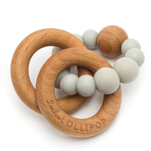 Loulou Lollipop - Bubble Silicone and Wood Teether - Cool Gray - oh baby!