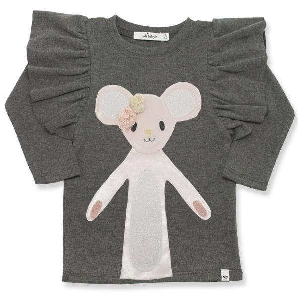 oh baby! Butterfly Sleeve Tee with Luxe Daisy Mouse - Charcoal