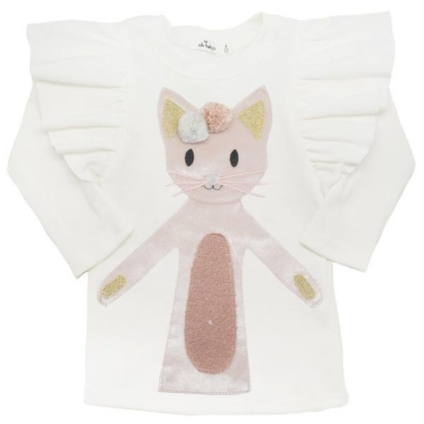 oh baby! Butterfly Sleeve Tee with Luxe Phoebe Kitty - Cream