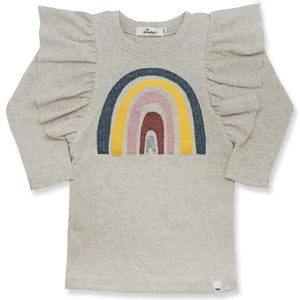 oh baby! Butterfly Sleeve Tee with Rainbow - Sand