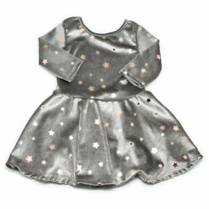 oh baby! Starry Velvet Dress, Gray with Light Rose Gold Foil