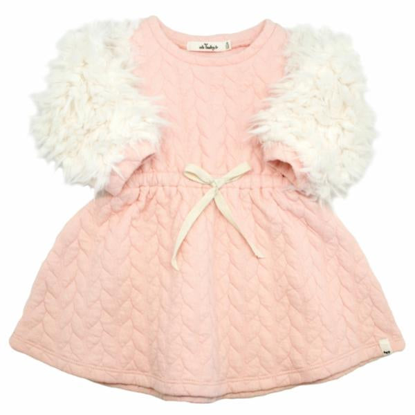 oh baby! Brooklyn Boxy Quilted Cable Dress with Cream Llama Sleeves, Pale Pink
