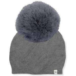 oh baby! Fuzzy Knit Snap Fur Pom Hat, Gray