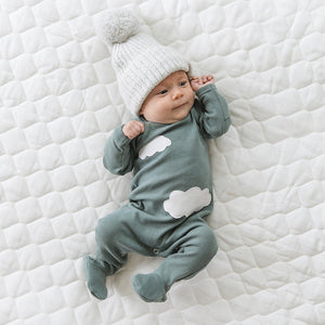 oh baby! Snapback Footie Baby Rib with Clouds - Sea
