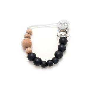 Loulou Lollipop - Colour Block Silicone & Wood Pacifier Clip - Midnight Black - oh baby!