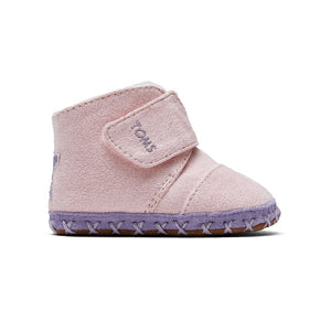TOMS Cuna Baby Infant Crib Shoes - Ballet Pink Microsuede with Star Applique