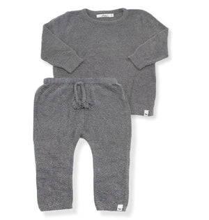 oh baby! Fuzzy Knit Brooklyn Boxy & Pant Set - Gray