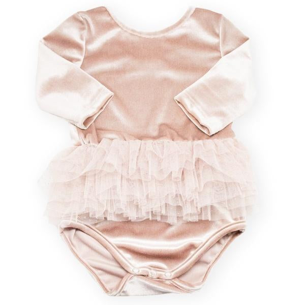 oh baby! Ballet Velvet Snap Leotard, Dusty Pink with Champagne/Gold