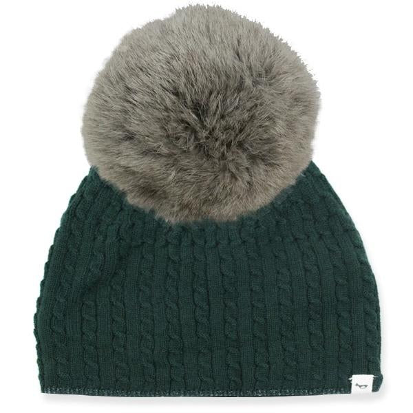 oh baby! Cable Knit Hat w/ Snap Fur Pom, Forest