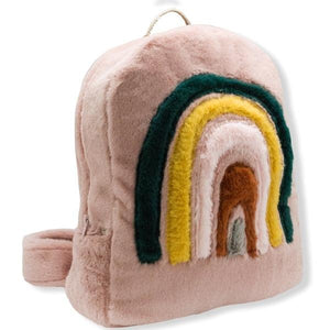 oh baby! Children's Fur Backpack with Rainbow - Blush