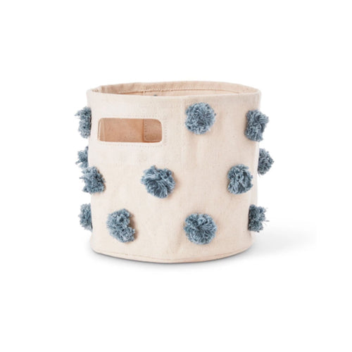 Pehr Pom Pom Mini Canvas Storage Bin - Deep Sea Blue