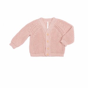 Wild Wawa Chunky Cardigan Sweater - Old Rose