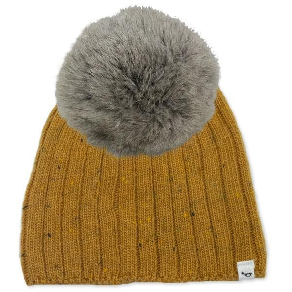 oh baby! Flat Knit Dappled Hat w/ Snap Fur Pom, Mustard