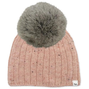 oh baby! Flat Knit Dappled Hat w/ Snap Fur Pom, Pale Pink