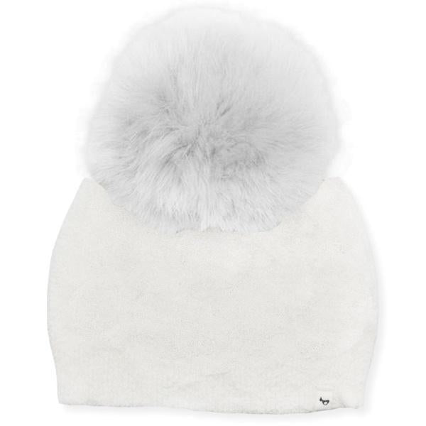 oh baby! Fuzzy Knit Snap Fur Pom Hat, Cream