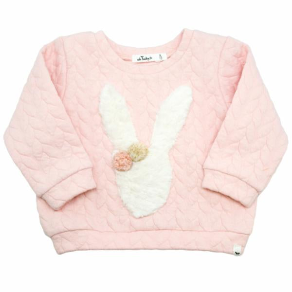oh baby! Brooklyn Boxy Quilted Cable, Stardust Snow Bunny, Pale Pink