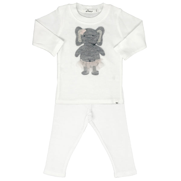 oh baby! Two Piece Set - Ballerina Elephant - Cream