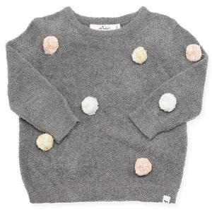 oh baby! Fuzzy Knit Brooklyn Boxy Sweater w/Stardust Mini Yarn Pom, Toddler, Gray