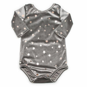 oh baby! Infant Starry Velvet Snap Leotard, Gray with Light Rose Gold Stars