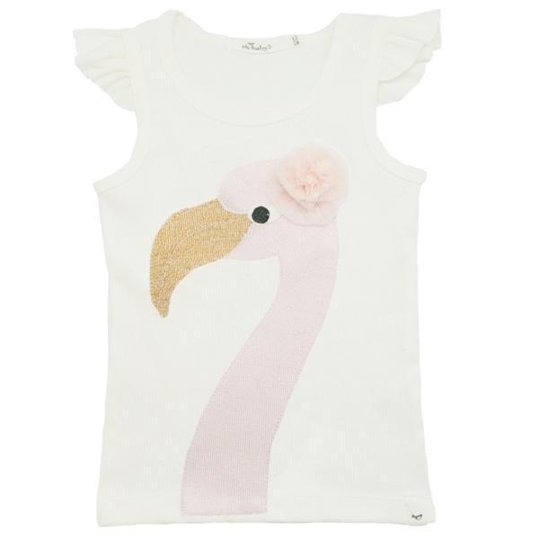 oh baby! Flutter Sleeve Tank Top - Flo the Flamingo - Cream