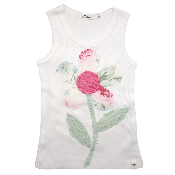 oh baby! Anniversary Vintage Flower Tank Top - Size 6-12 Months - oh baby!