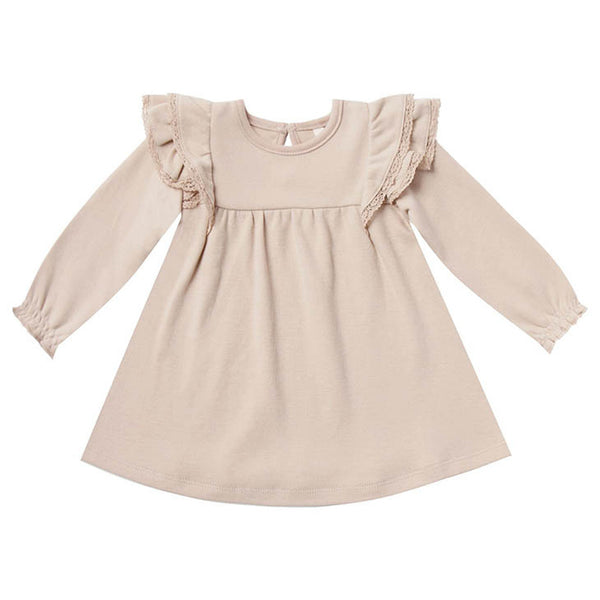Quincy Mae Long Sleeve Flutter Baby Dress - Rose