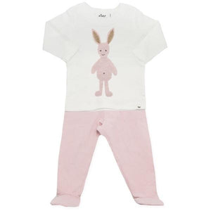 oh baby! Two Piece Jersey Footie Set - Ragdoll Bunny Blush - Blush