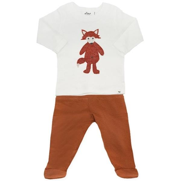 oh baby! Two Piece Jersey Footie Set - Ragdoll Fox - Rust