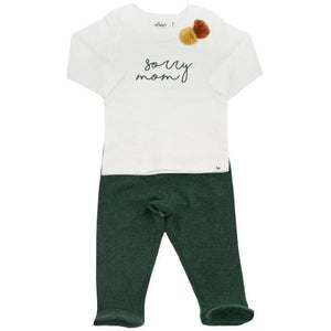 "oh baby! Two Piece Jersey Footie Set - ""sorry mom"" Forest Ink with Poms - Forest"