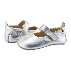 Old Soles Gabrielle Silver Rubber Sole Infant Baby Shoes