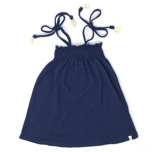 oh baby! Gidget Smocked Dress - Navy