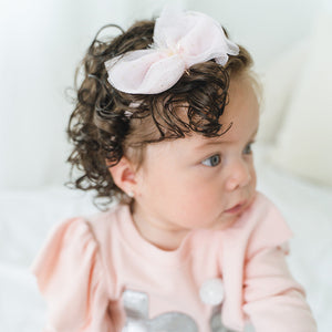 oh baby! Glinda Bow Nylon Headband - Light Pink