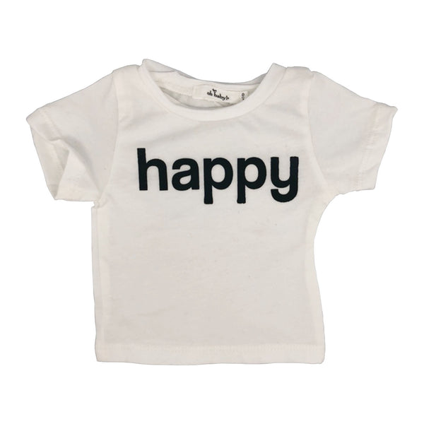 "oh baby! Short Sleeve Tee - ""Happy"" Black Ink - White"