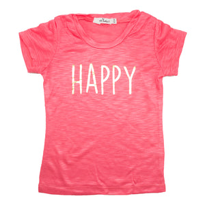 "oh baby! Short Sleeve Slub Tee - ""Happy"" Gold Foil - Coral"