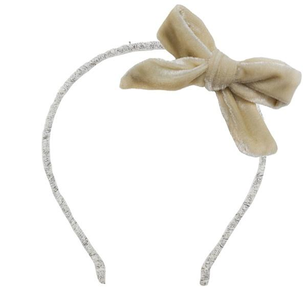 oh baby! Velvet Bow Wrapped Yarn Headband - Champagne