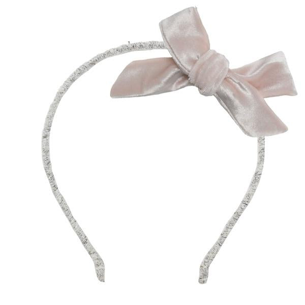 oh baby! Velvet Bow Wrapped Yarn Headband - Pale Pink
