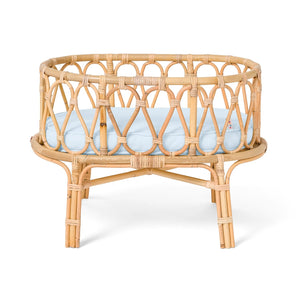 Poppie Rattan Doll Crib - Baby Blue
