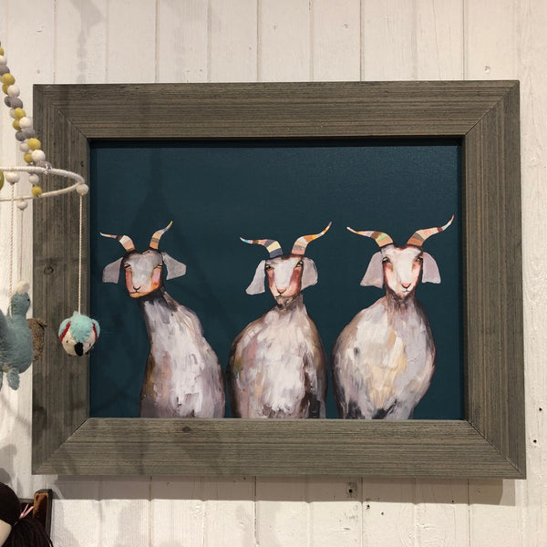 Trio of Goats Framed Art 31x25