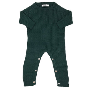 oh baby! Cable Knit Romper Onesie, Forest
