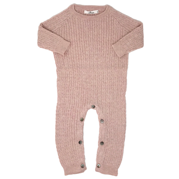 oh baby! Cable Knit Romper Onesie, Pale Pink