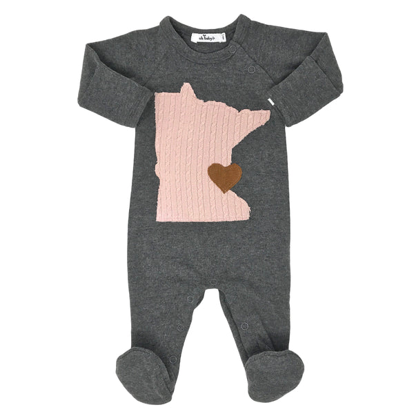 oh baby! Onesie Footie - Minnesota Love Pale Pink - Pepper