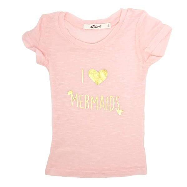 "oh baby! Short Sleeve Bamboo Slub Top - ""I Love Mermaids"" - Pale Pink/Gold"