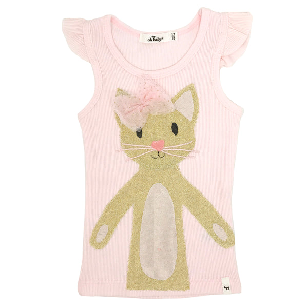 oh baby! Flutter Sleeve Tank Top - Phoebe Kitty Gold - Pink
