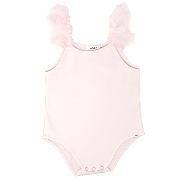 oh baby! Frill Ballet Leotard with Pale Pink Glinda Mesh Trim