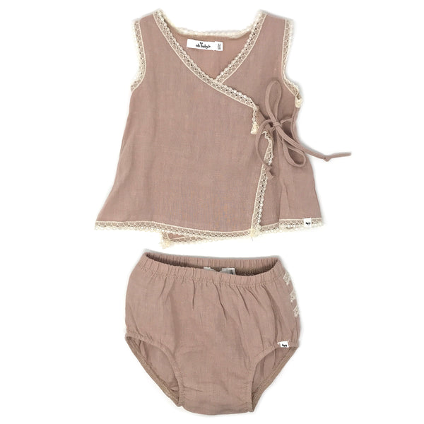 oh baby! Linen & Lace Blouse Tushie Set - Rose