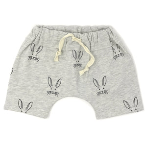 oh baby! Brooklyn Mini Jogger - Charcoal Bunny Face Shorts - Oatmeal