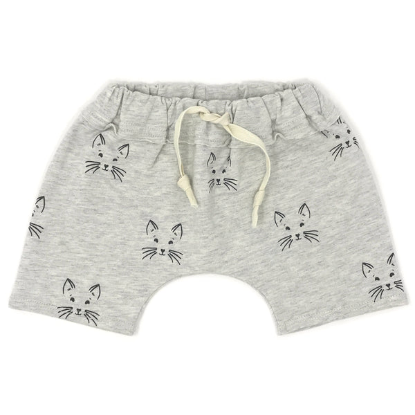 oh baby! Brooklyn Mini Jogger - Charcoal Kitty Face Shorts - Oatmeal