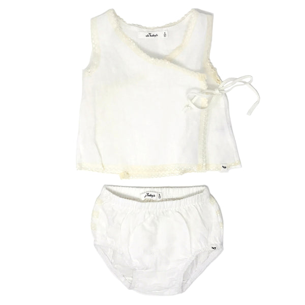 oh baby! Linen & Lace Blouse Tushie Set - Ivory