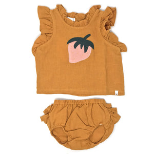 oh baby! Lola Strawberry Washed Linen Infant Top and Ruffle Tushie Set - Butterscotch